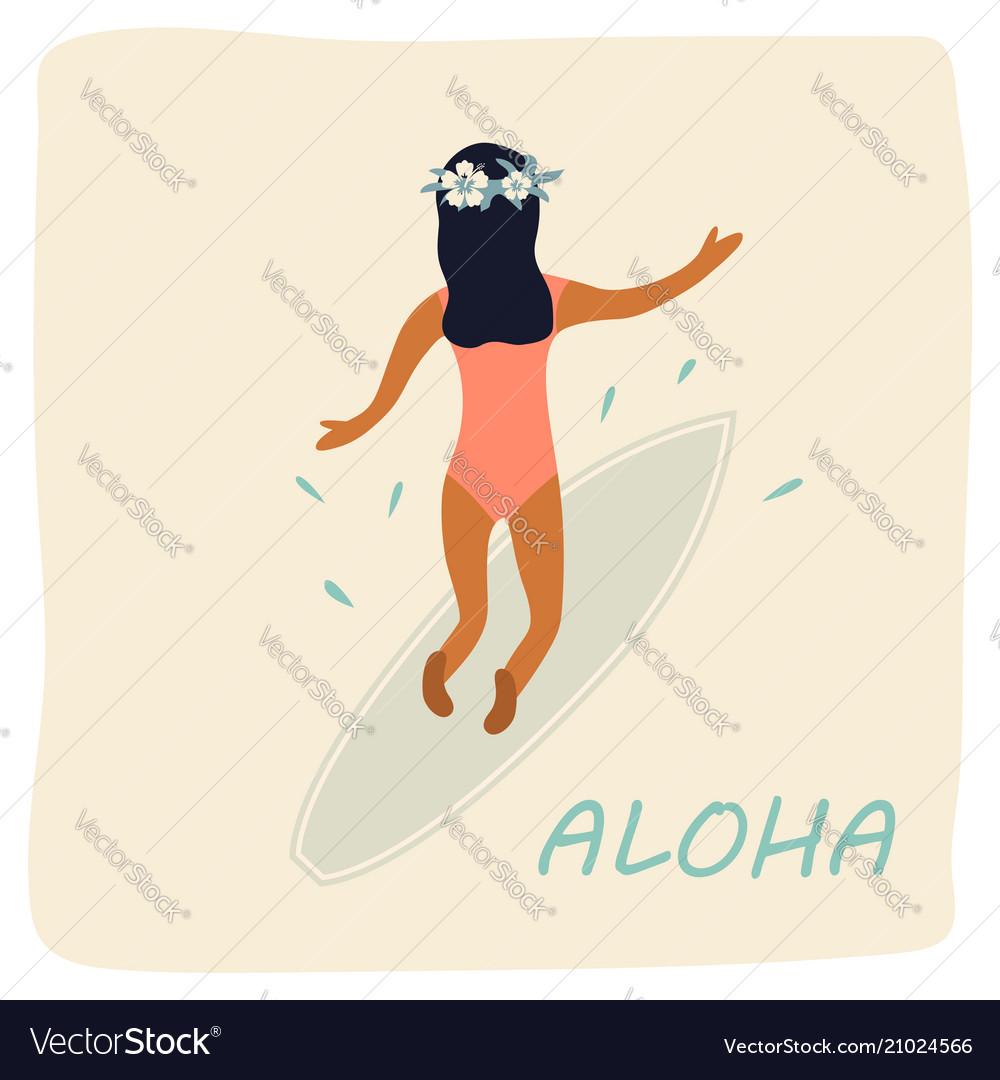 Girl surfing waves vintage poster