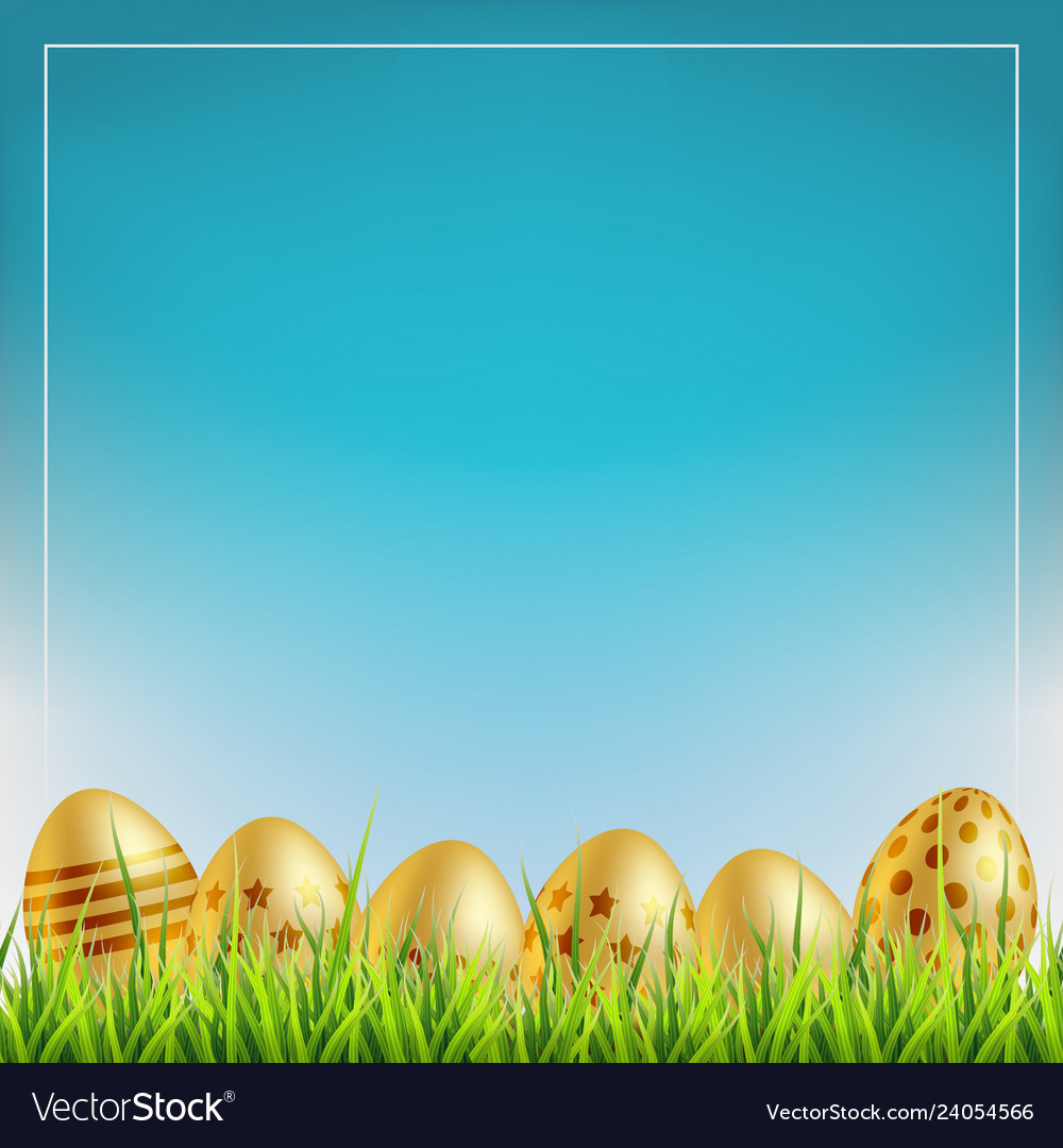 Golden easter eggs on a grass easter sale