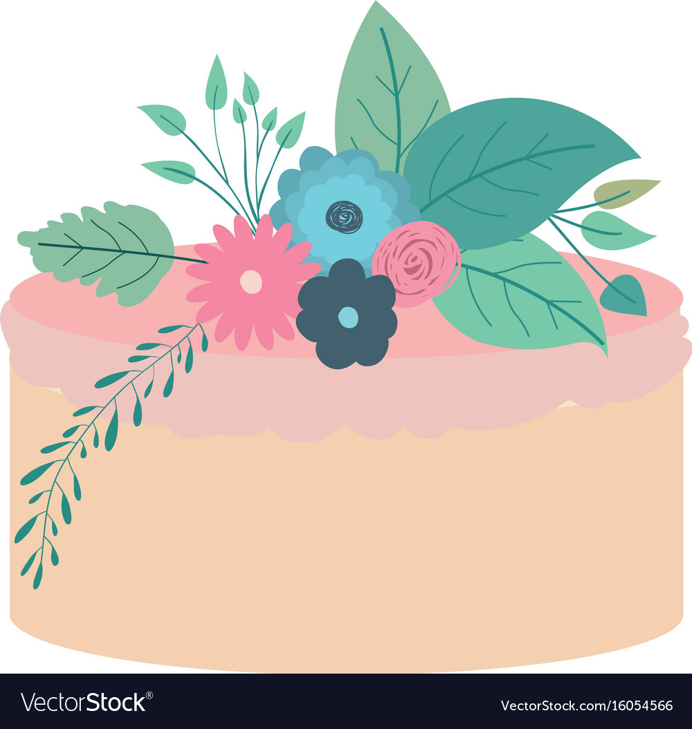 Hand Drawing Color Cake With Pink Buttercream Vector Image