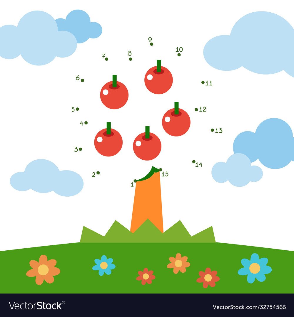 Numbers game for children apple tree