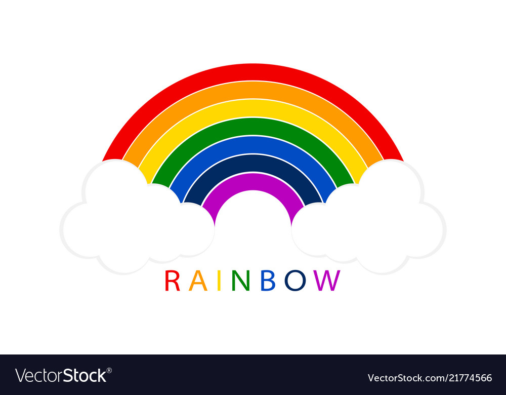 Rainbow with white clouds on blank background