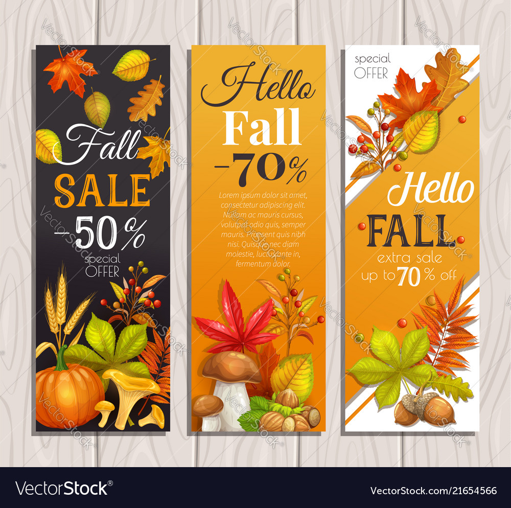 Seasonal autumn sale banners