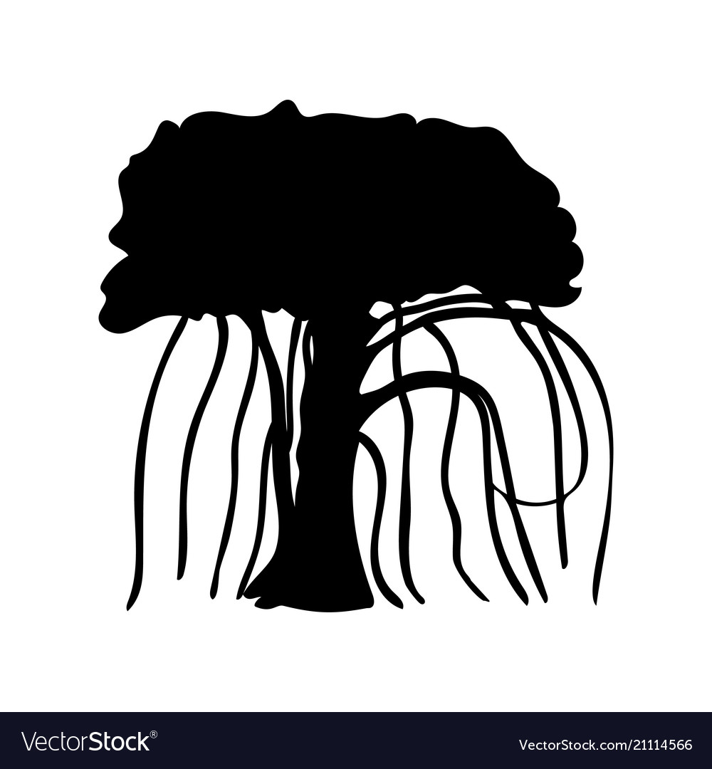 Silhouette liana creeper icon tree flora