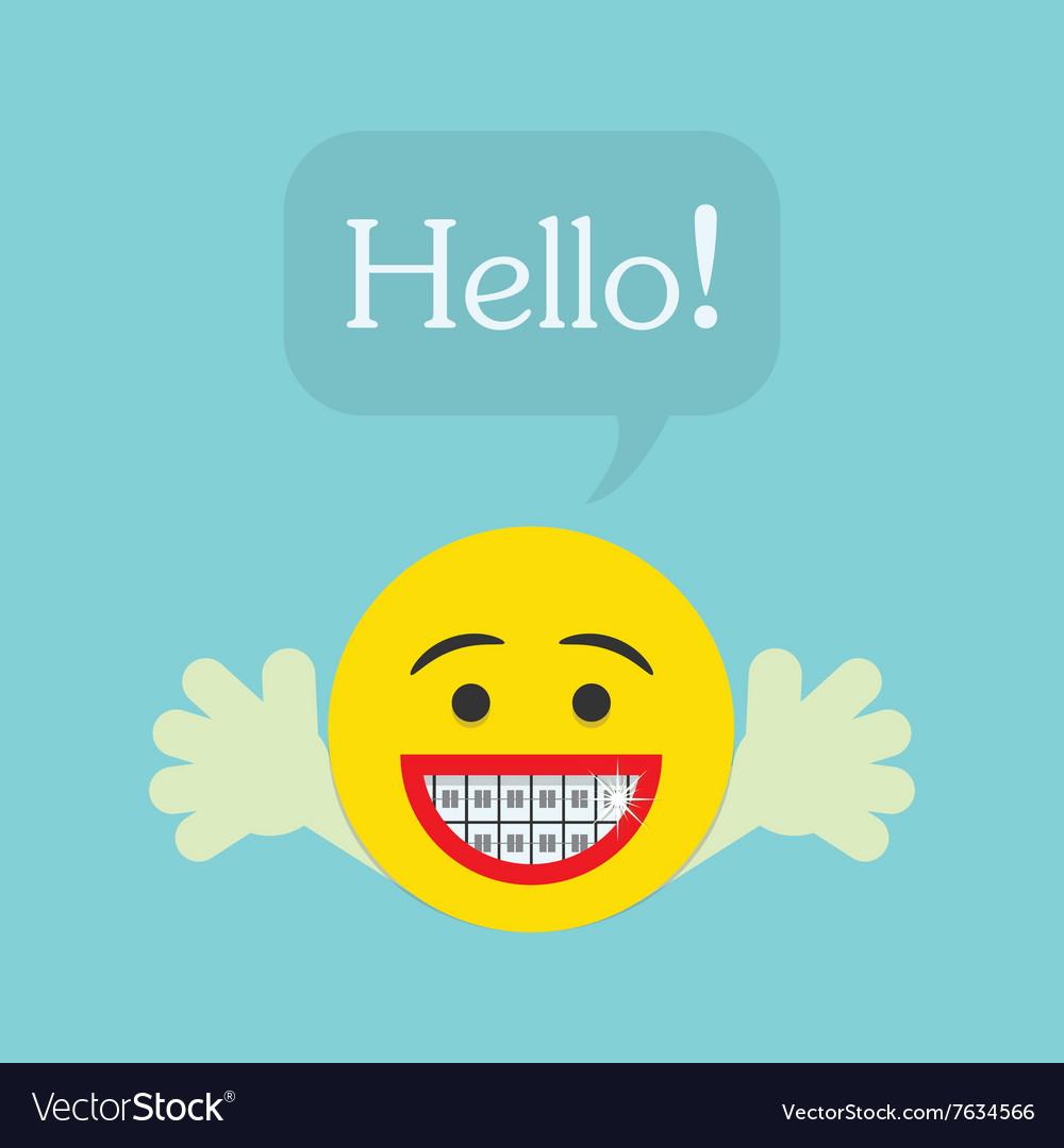Smiley face emoticon icon with Hello speech bubble vector image