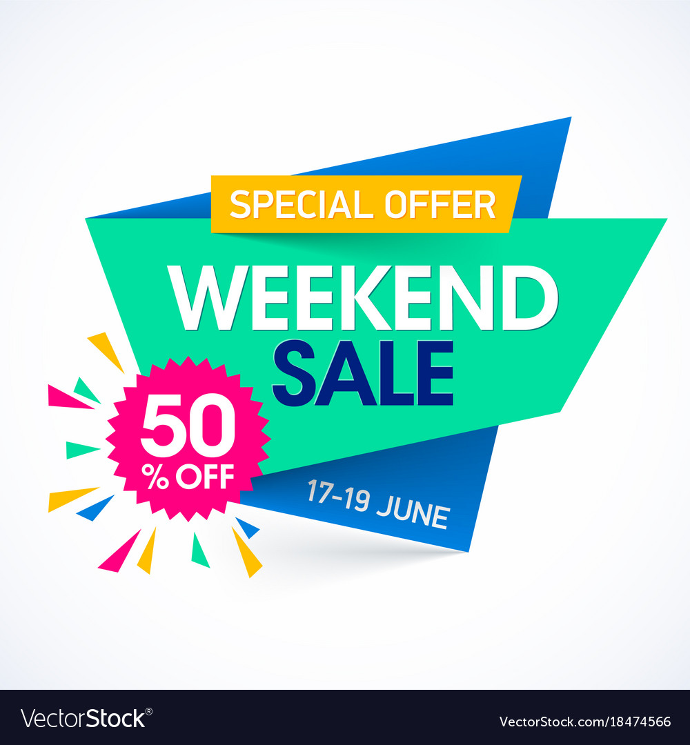 Weekend Discount: Weekend Super Sale Special Offer Banner Royalty Free Vector