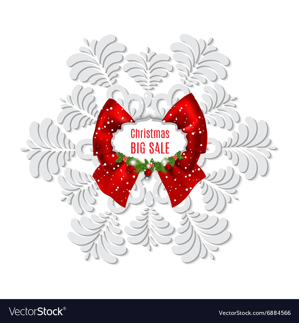Winter sale background with snowflake Christmas vector image