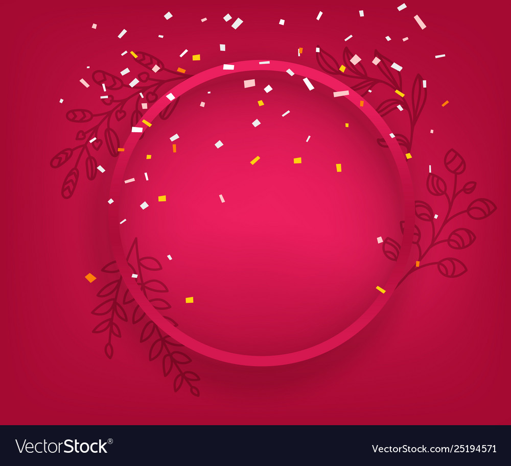 Blank red round frame on red background