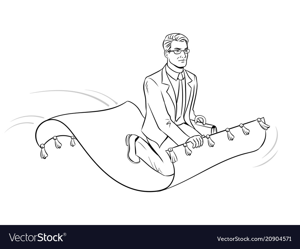 Businessman on magic carpet coloring Royalty Free Vector