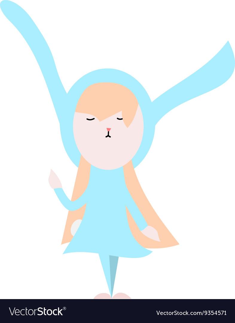 Cute happy bunny in light blue dress vector image