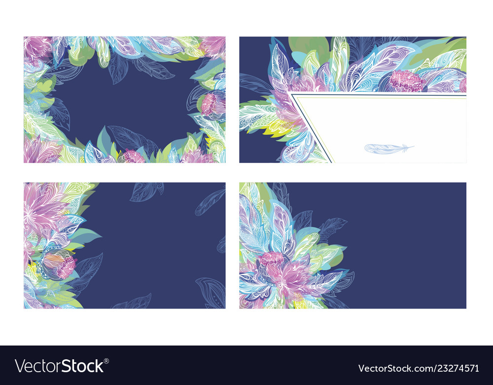 Feather tribal boho ornament cards template