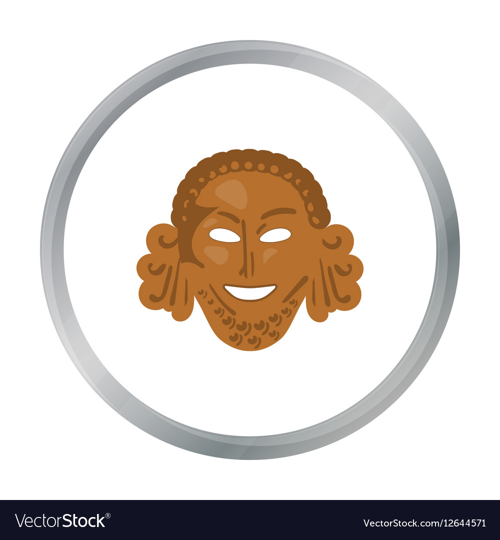 Greek antique mask icon in cartoon style isolated