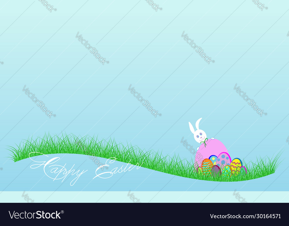 Happy easter banner white rabbit and colorful eggs