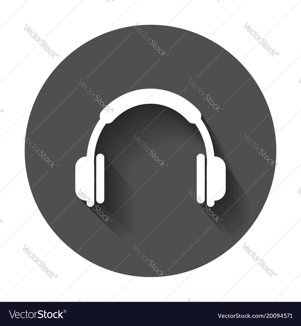 Headphone icon earphone headset sign on black