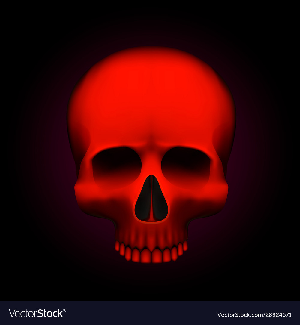 Human skull isolated on black color red object