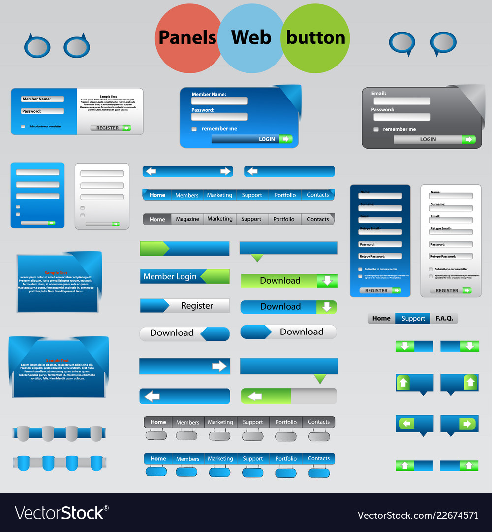 Large set of web panels buttons for your ideas