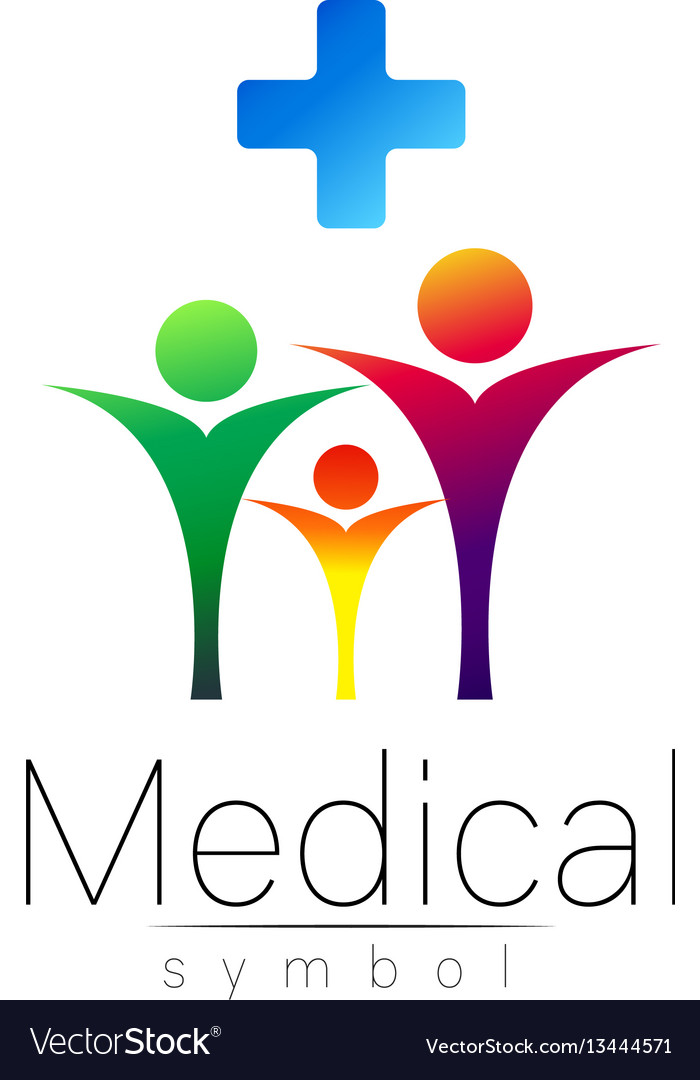 Medical sign with cross family symbol for
