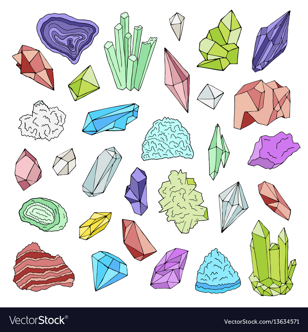 Minerals crystals gems isolated color