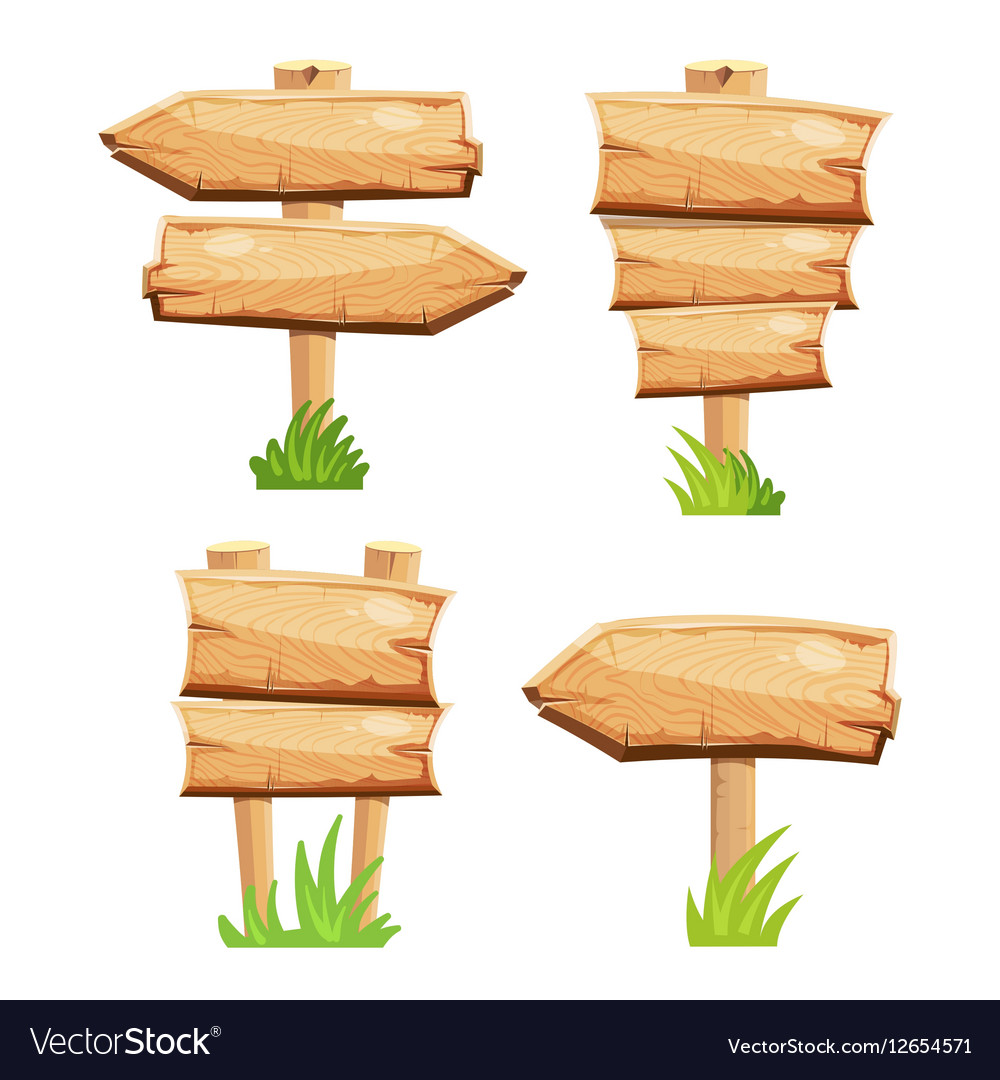 old wooden blank cartoon sign boards in green vector image