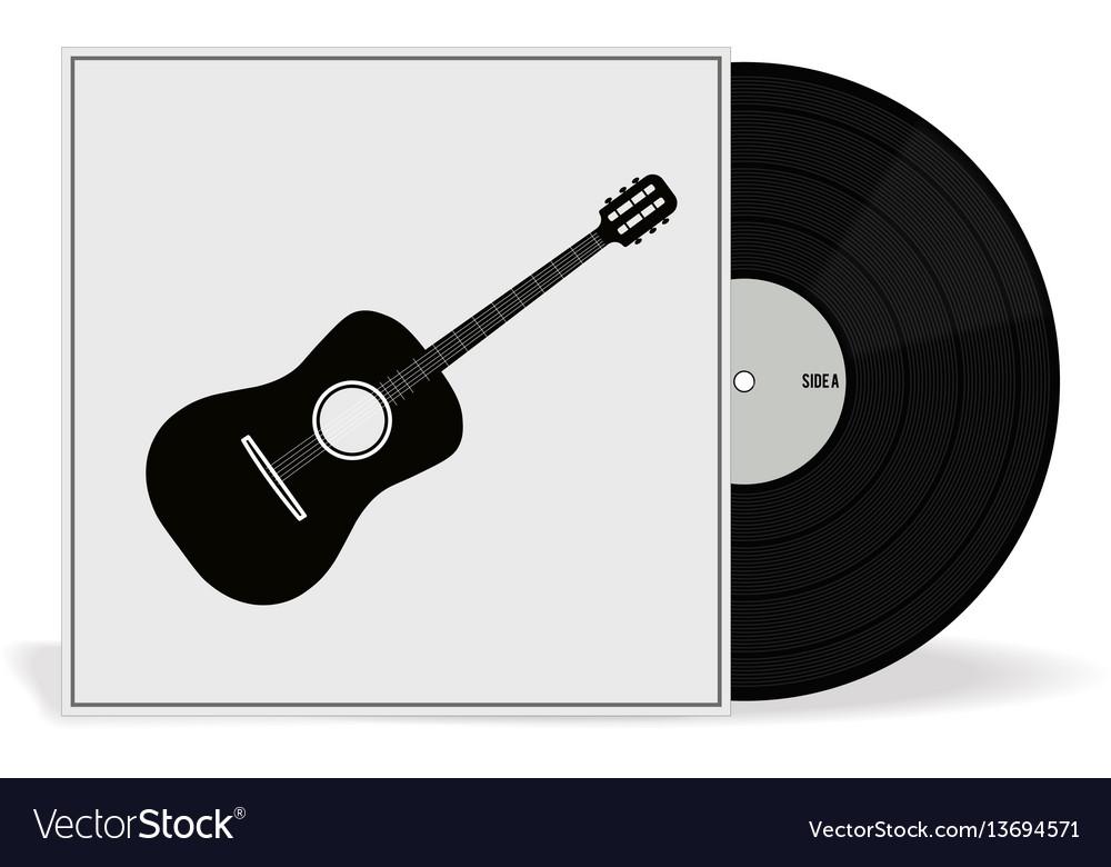 Realistic vinyl record with cover mockup retro vector image