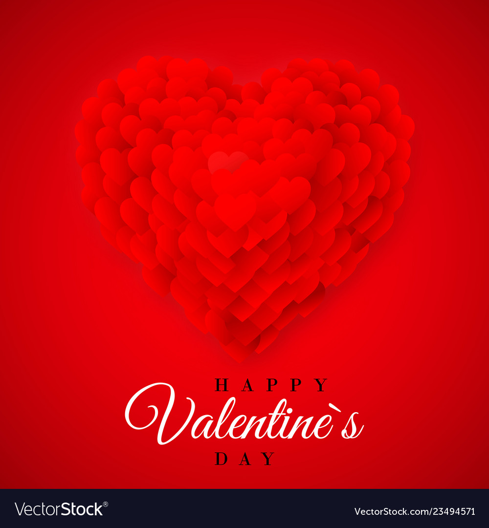 Red valentines heart valentines composition of