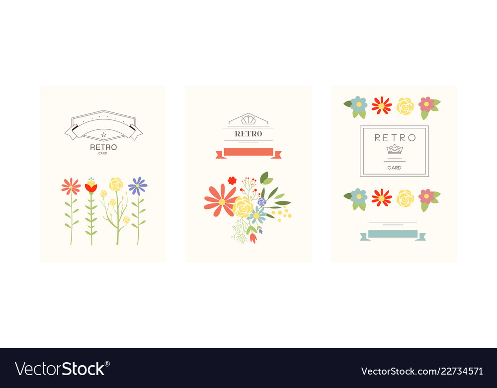 Retro cards with flowers set design element