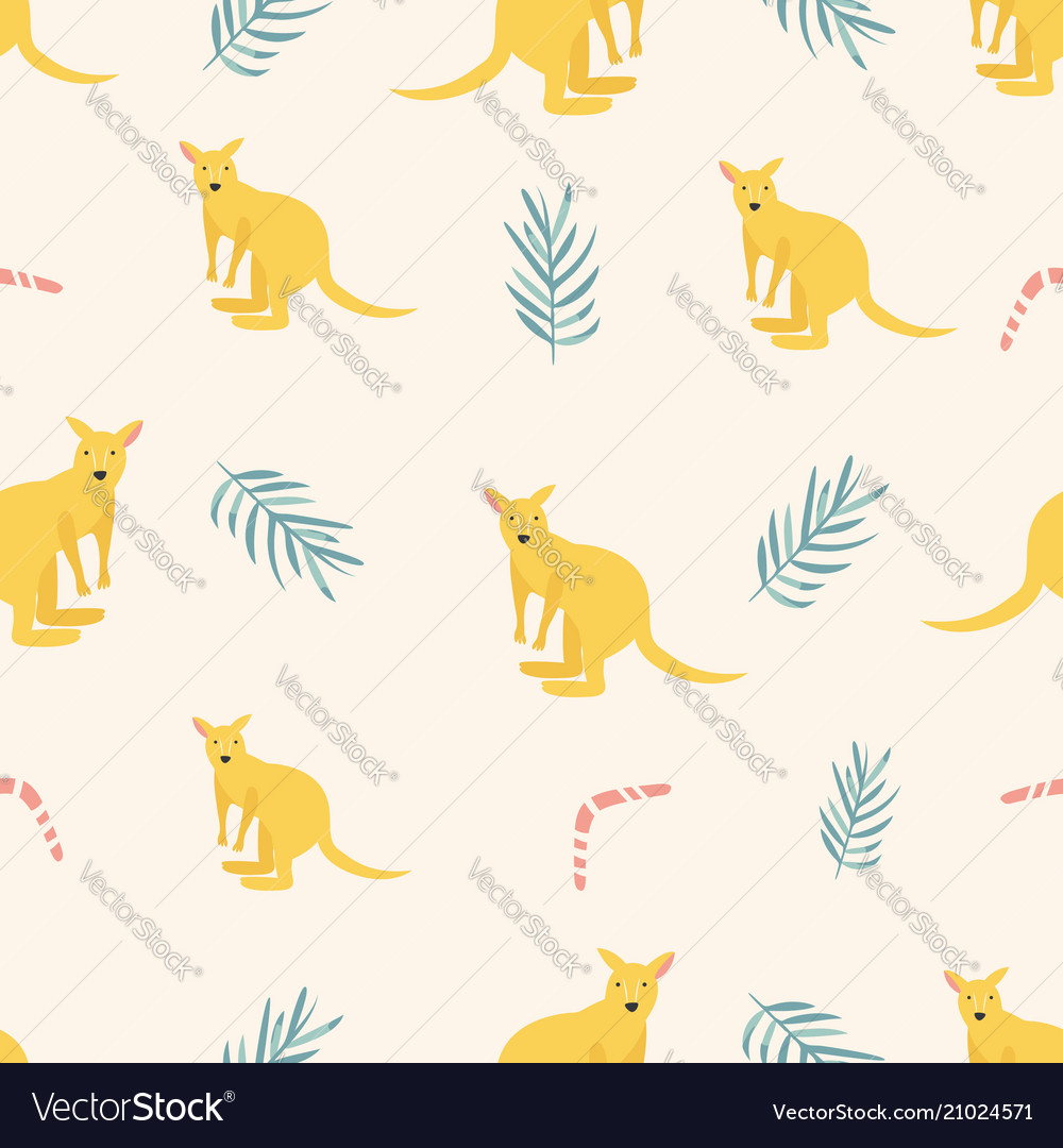 Seamless pattern with kangaroos and leaves