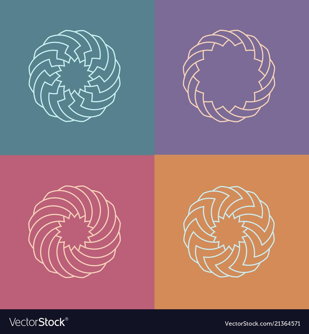 Set of round linear pattern logos
