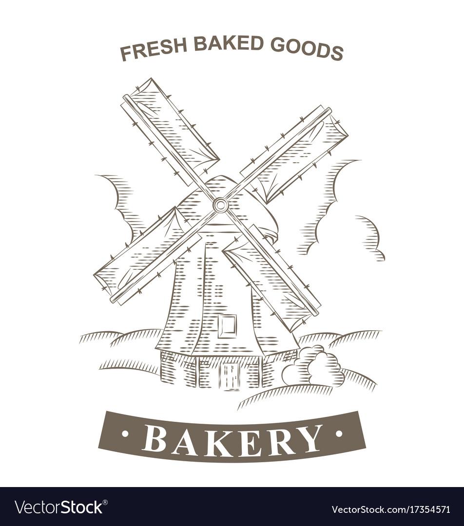 vintage windmill logo bakery design template vector image