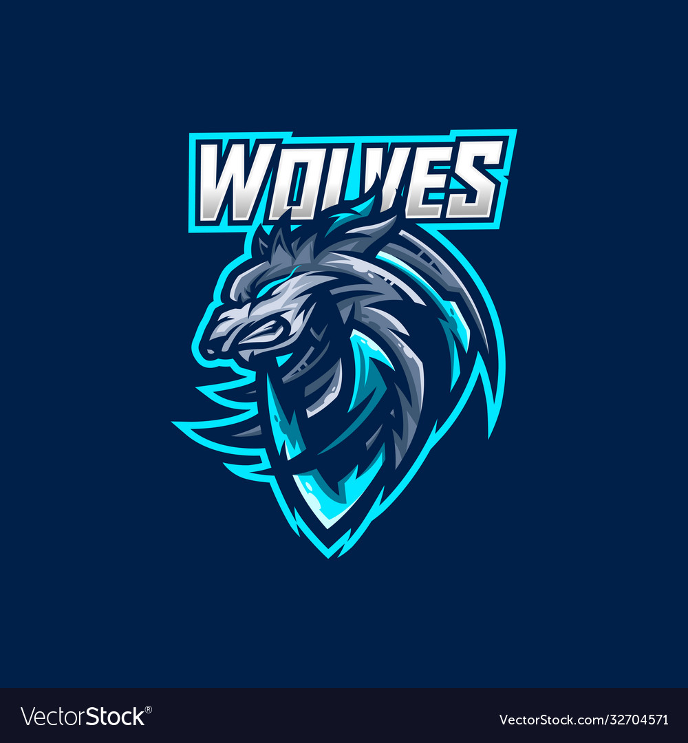 Wolves esport gaming mascot logo template