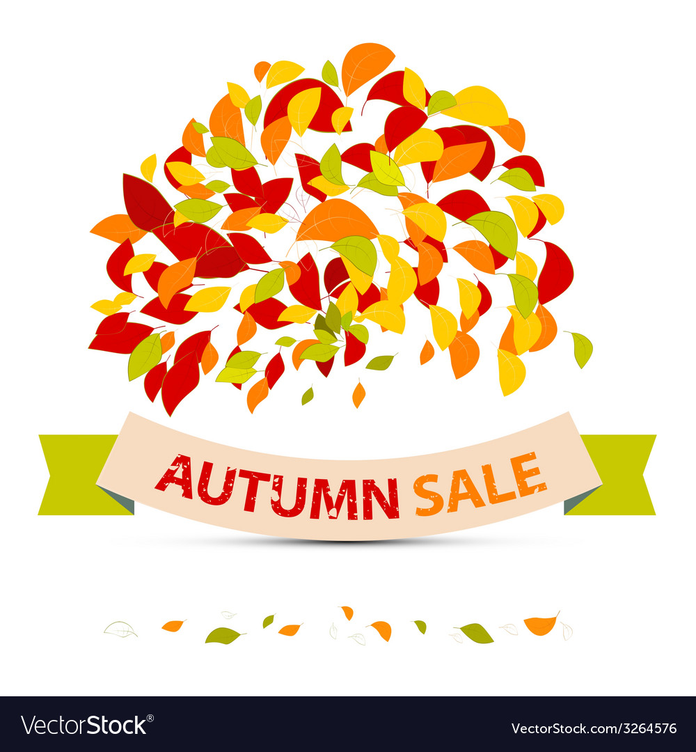Abstract Autumn Sale with Leaves on White Ba