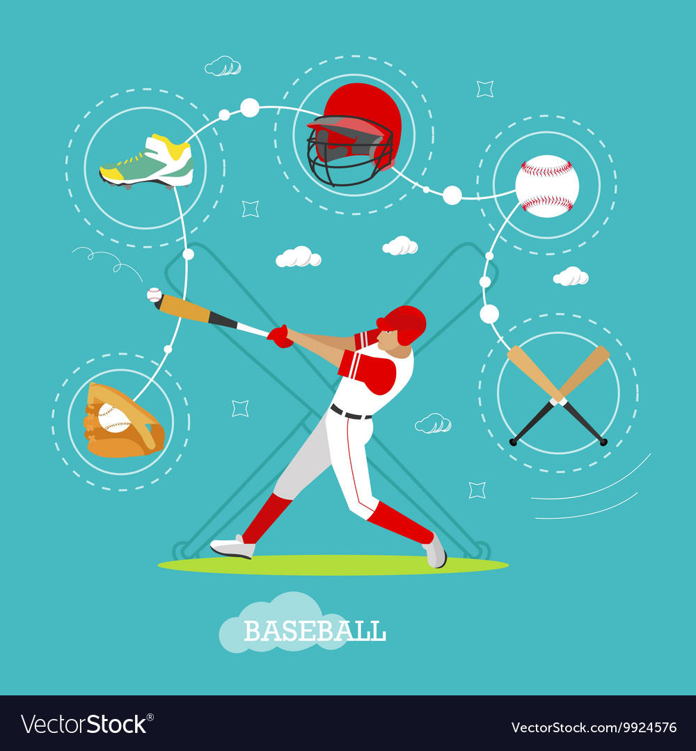 Baseball player with equipment Sport concept vector image