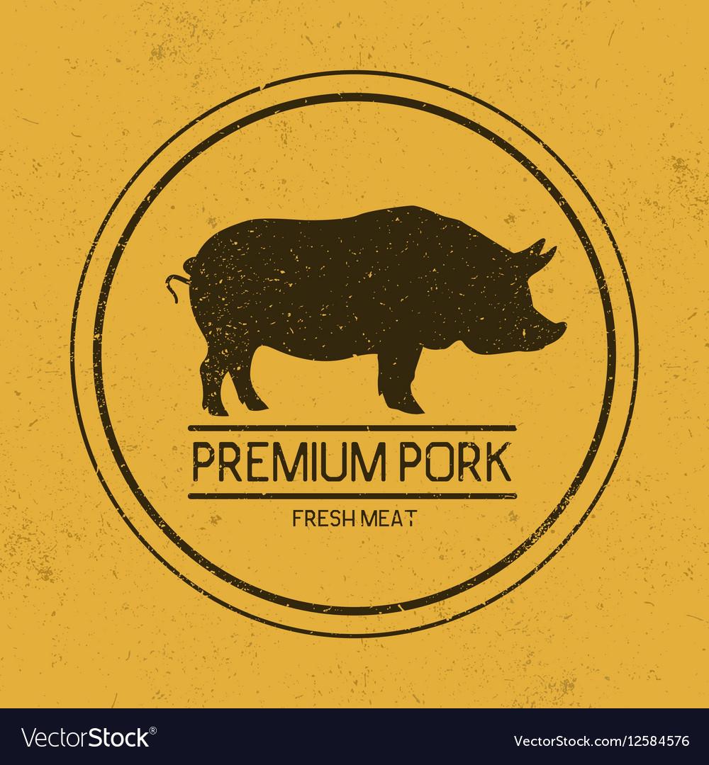 Dark mark for porkSilhouette of pig vector image