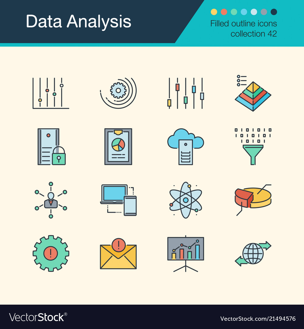 Data analysis icons filled outline design