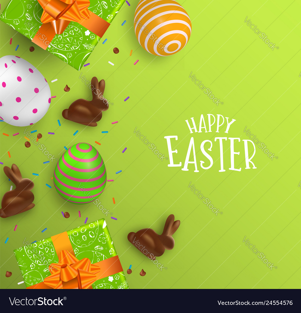 Easter card 3d chocolate bunny and color eggs