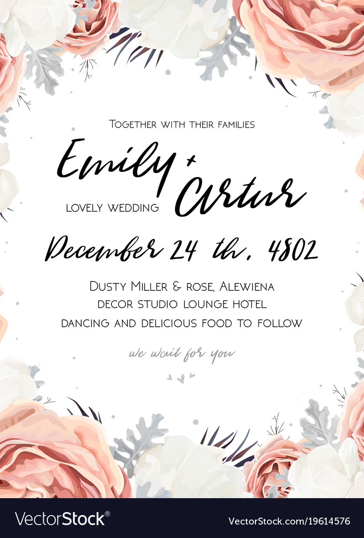 Floral wedding invitation save the date card Vector Image