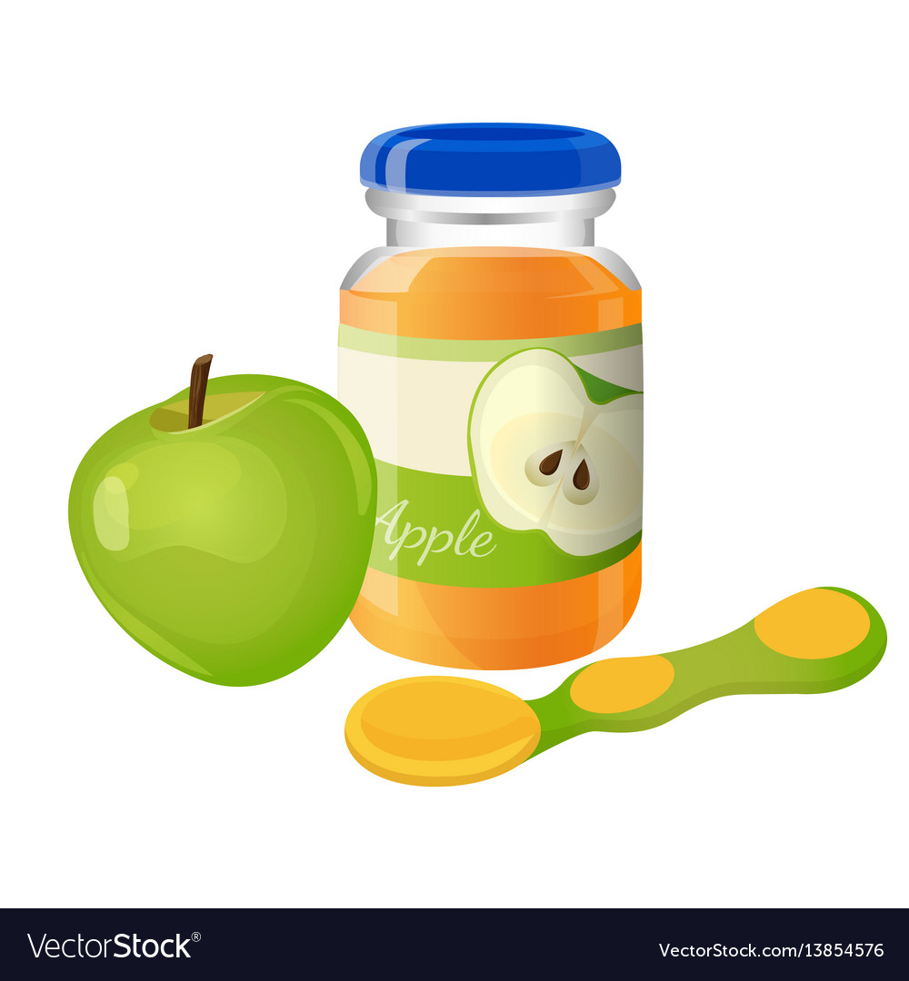 Glass jar of puree with spoon and green apple near
