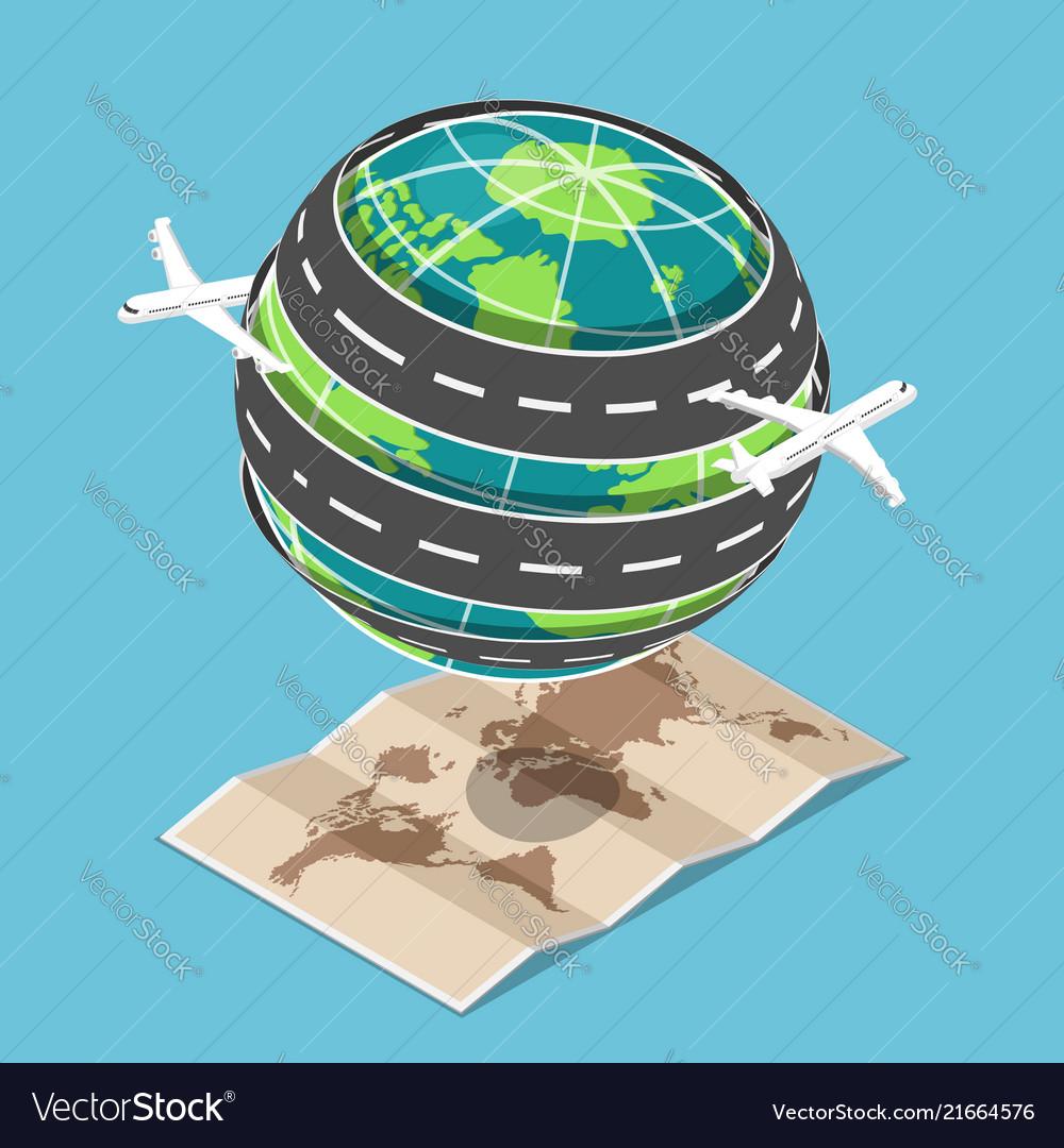 Isometric plane and transportation road circled