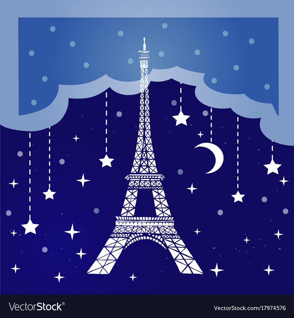 Night paris vector image