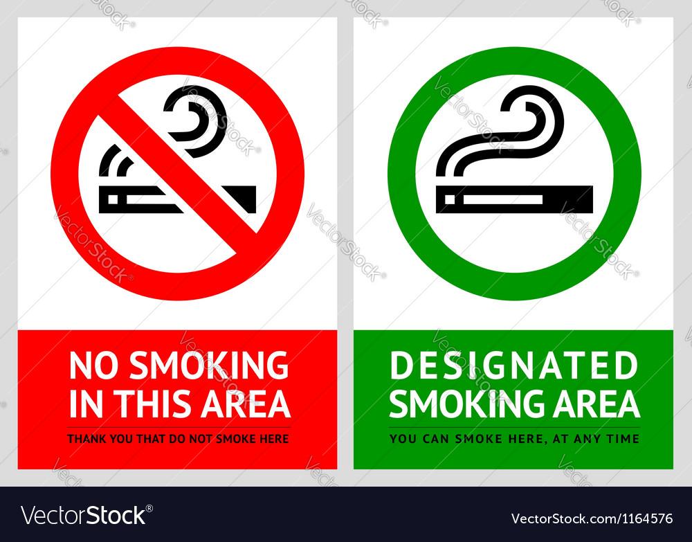 No smoking and Smoking area labels vector image