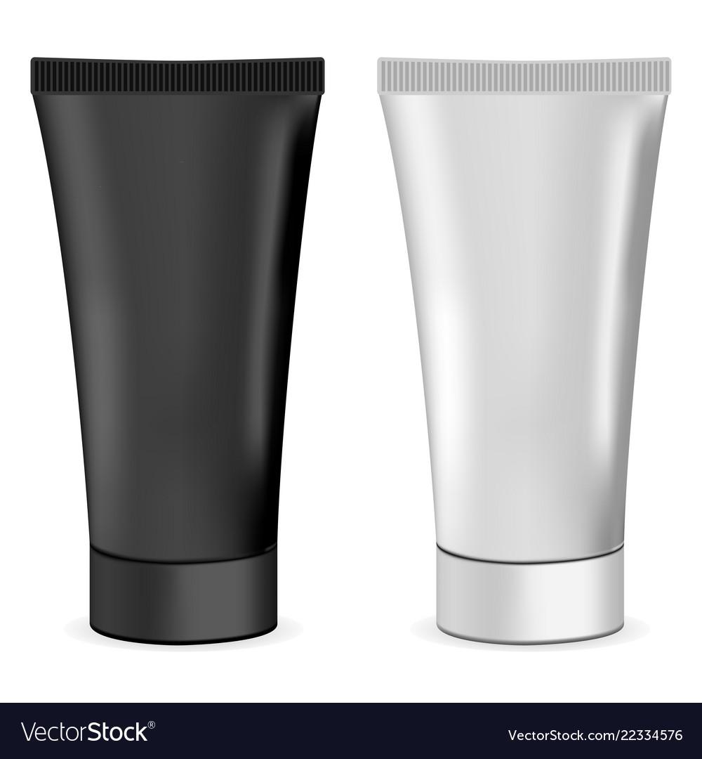 Plastic or metal realistic 3d cream tubes black a