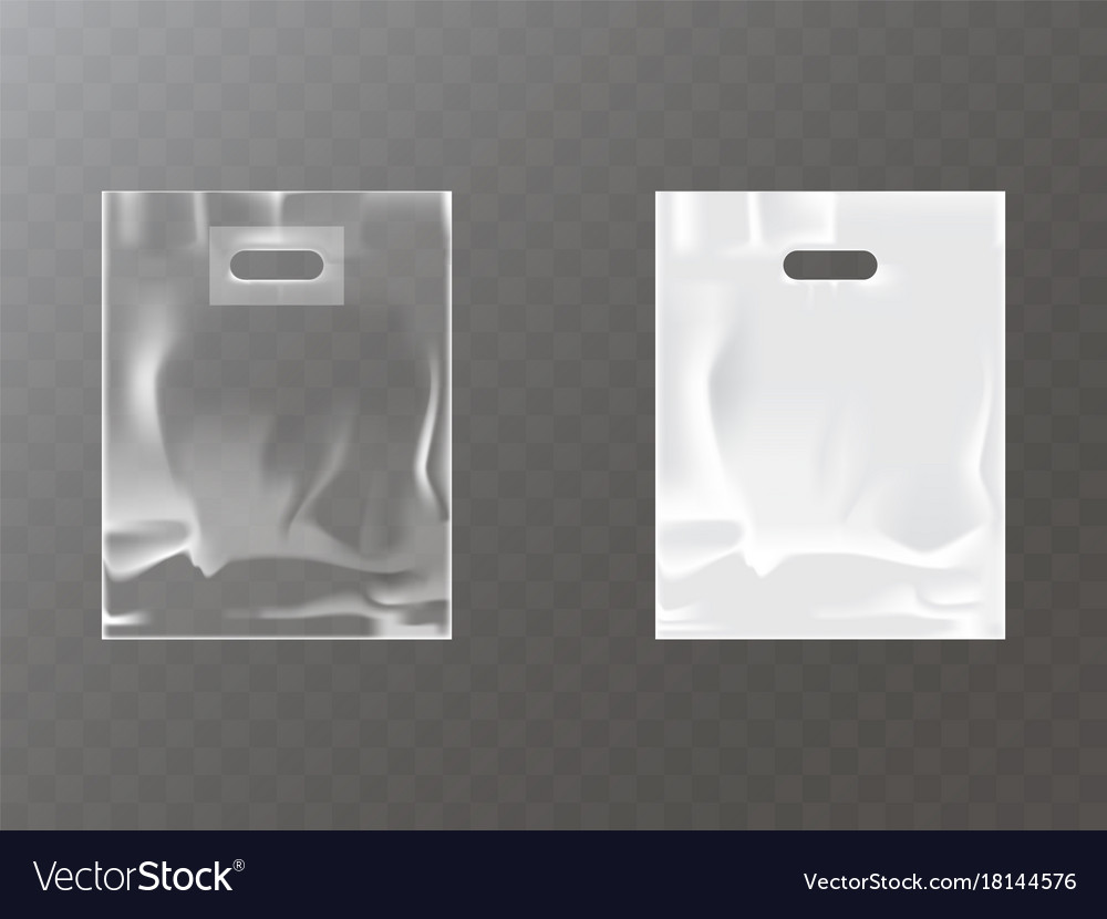 Plastic packets with hand hole realistic vector image