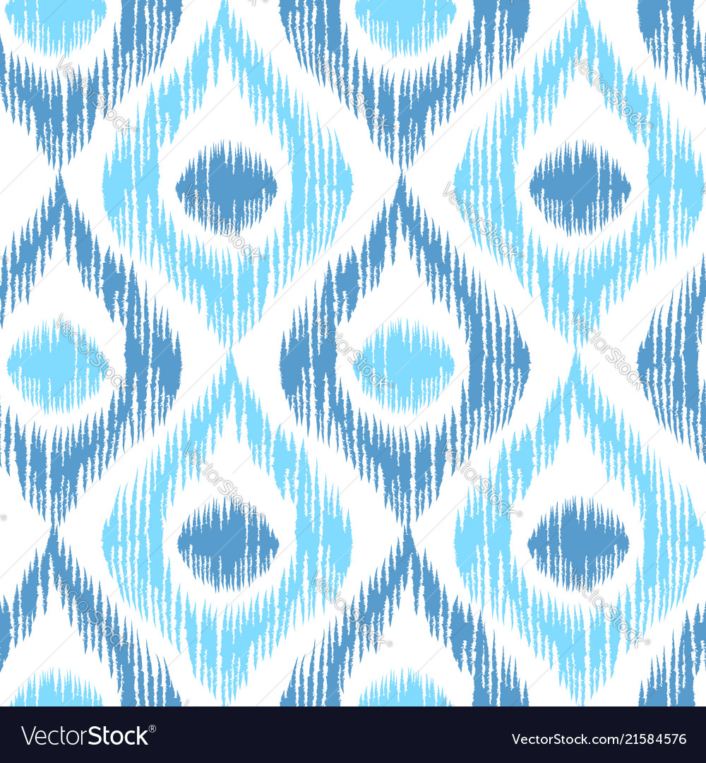 Retro ikat blue pattern