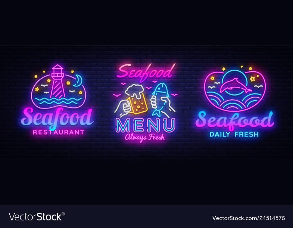 Seafood neon signs set seafood menu neon