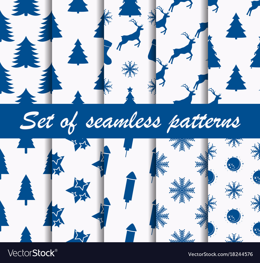 Set of christmas seamless patterns with fir-trees