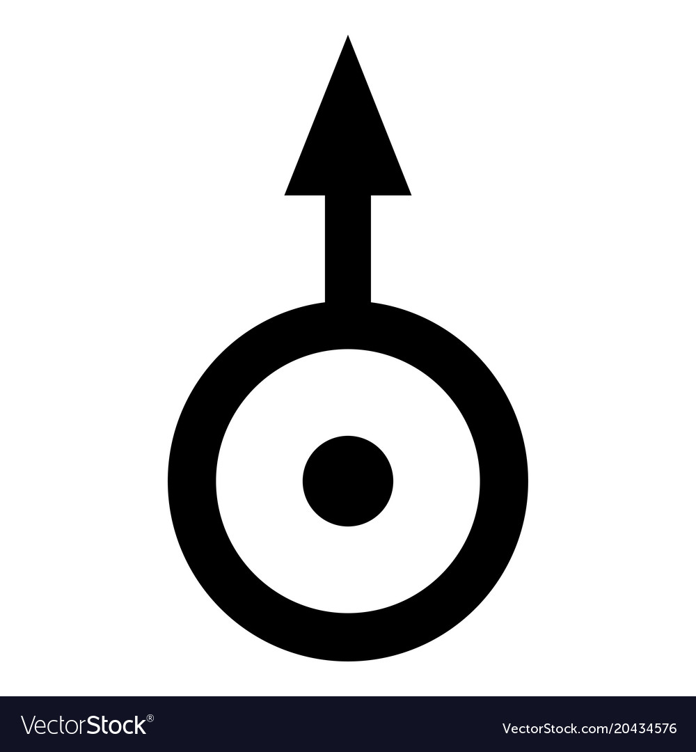 Symbol Uranus Icon Black Color Flat Style Simple Vector Image