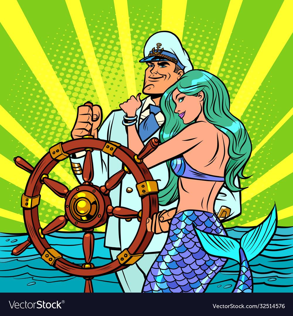 The captain ship and beautiful mermaid