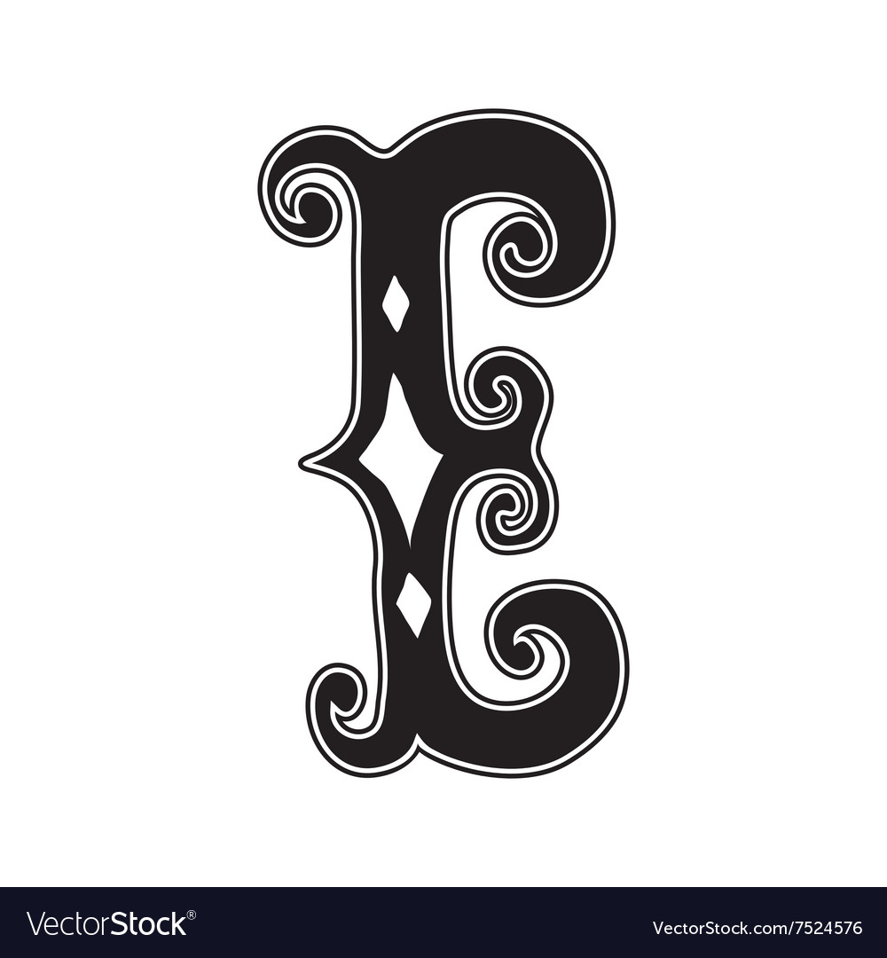 The Vintage Style Letter E Royalty Free Vector Image