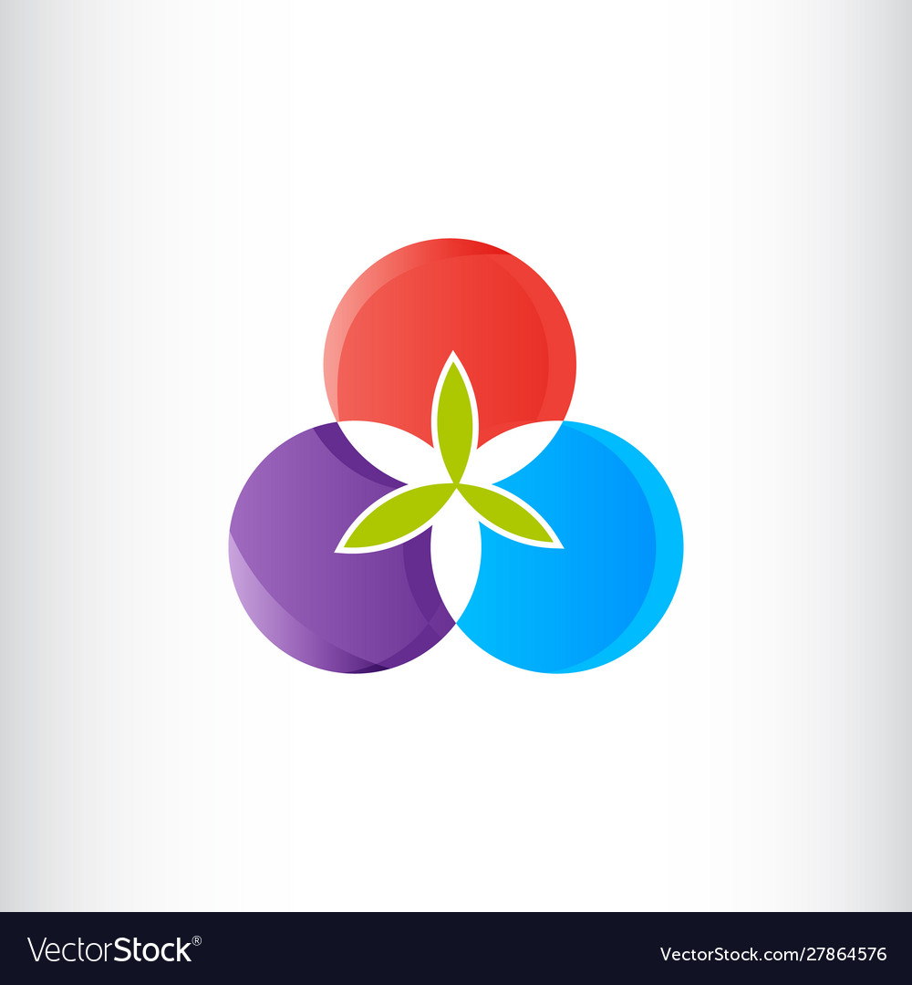 Three circle flower or fruit logo gradient color
