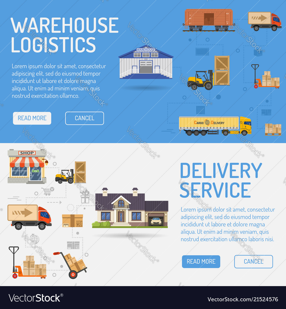 Warehouse delivery and logistics banners