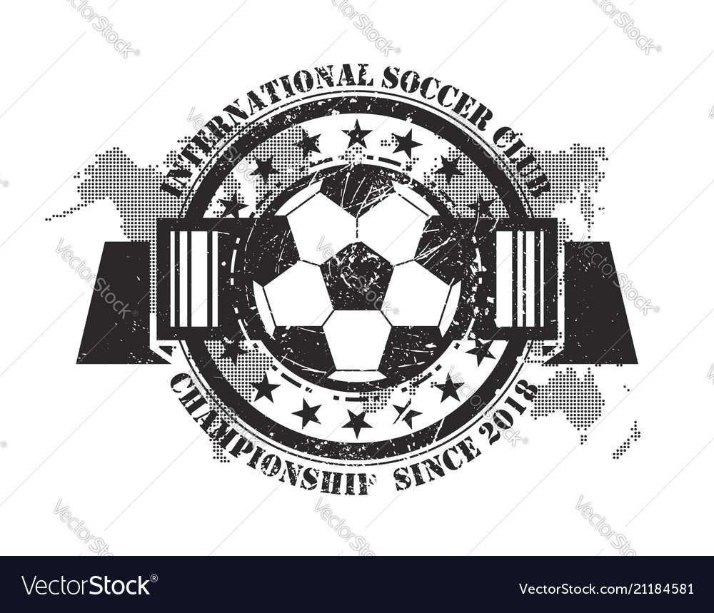 Abstract grunge football badge with world map
